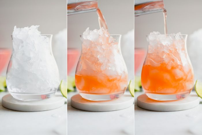 grid of step shots showing the process of making an aperol margarita