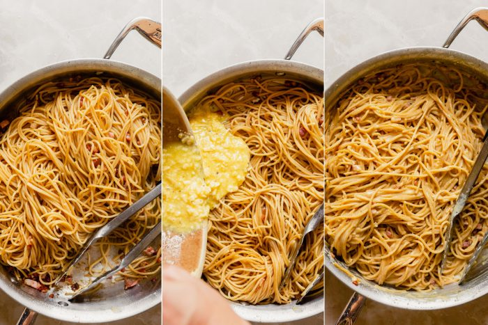 step images showing the process of making carbonara