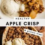 Pinterest graphic for healthy gluten-free apple crisp recipe