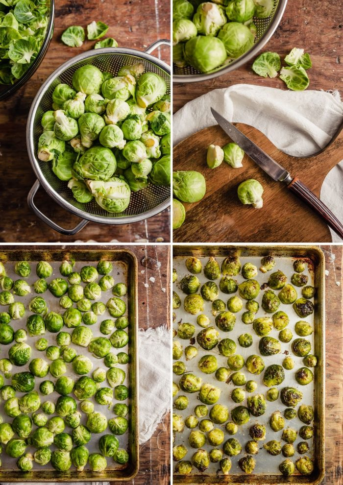 grid of step-by-step images showing how to prepare and roast brussels sprouts