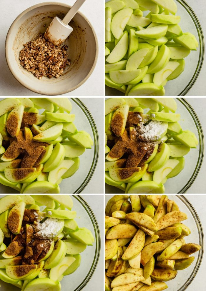step-by-step grid of images showing how to make the apple filling for gluten-free apple crisp