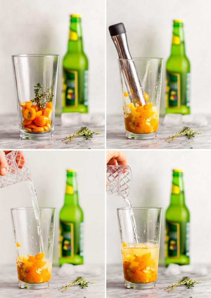 Step by step photos showing how to make a kumquat cocktail. Kumquats and thyme in a glass, kumquats getting muddled, adding vodka, adding ginger beer