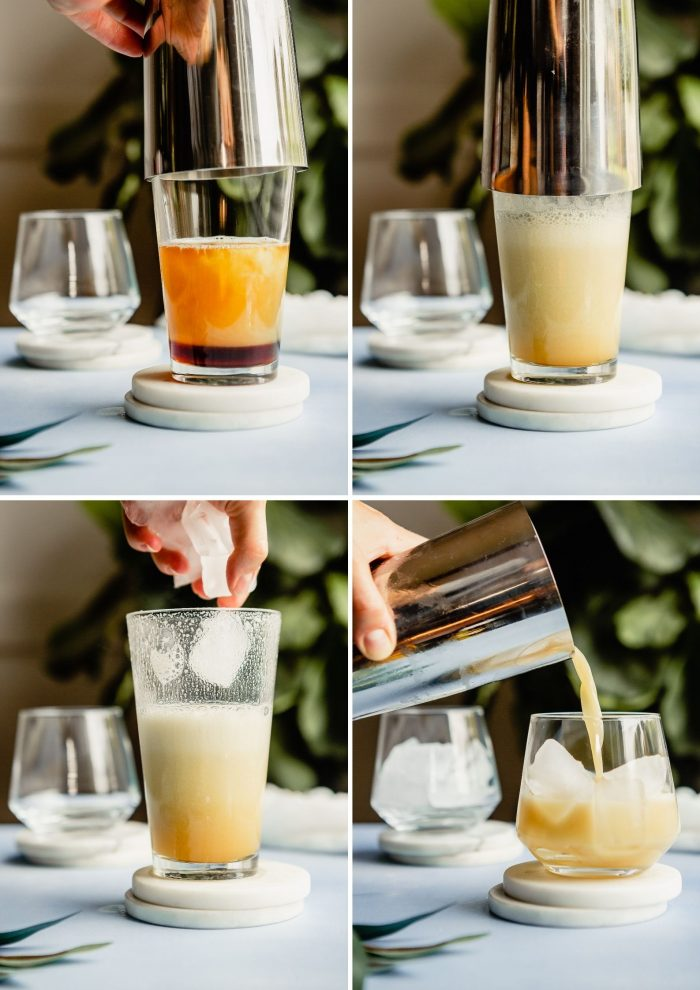 grid of step-by-step images showing how to make a New York Sour Cocktail