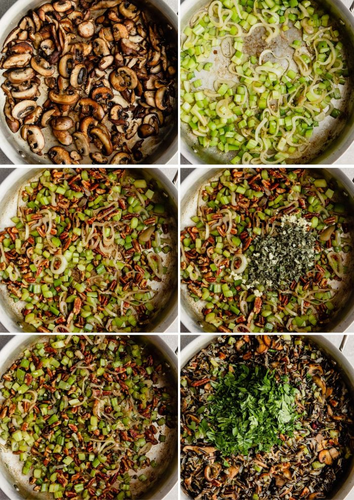 step-by-step grid of images showing how to make wild rice stuffing
