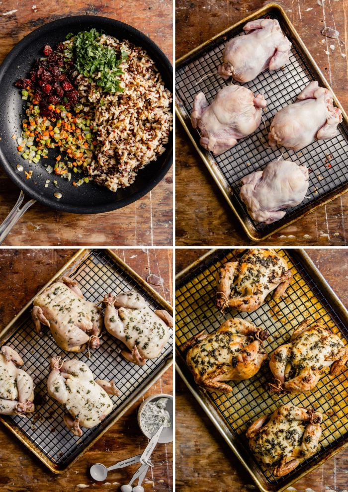 step-by-step grid of images showing how to prepare and roast cornish hens