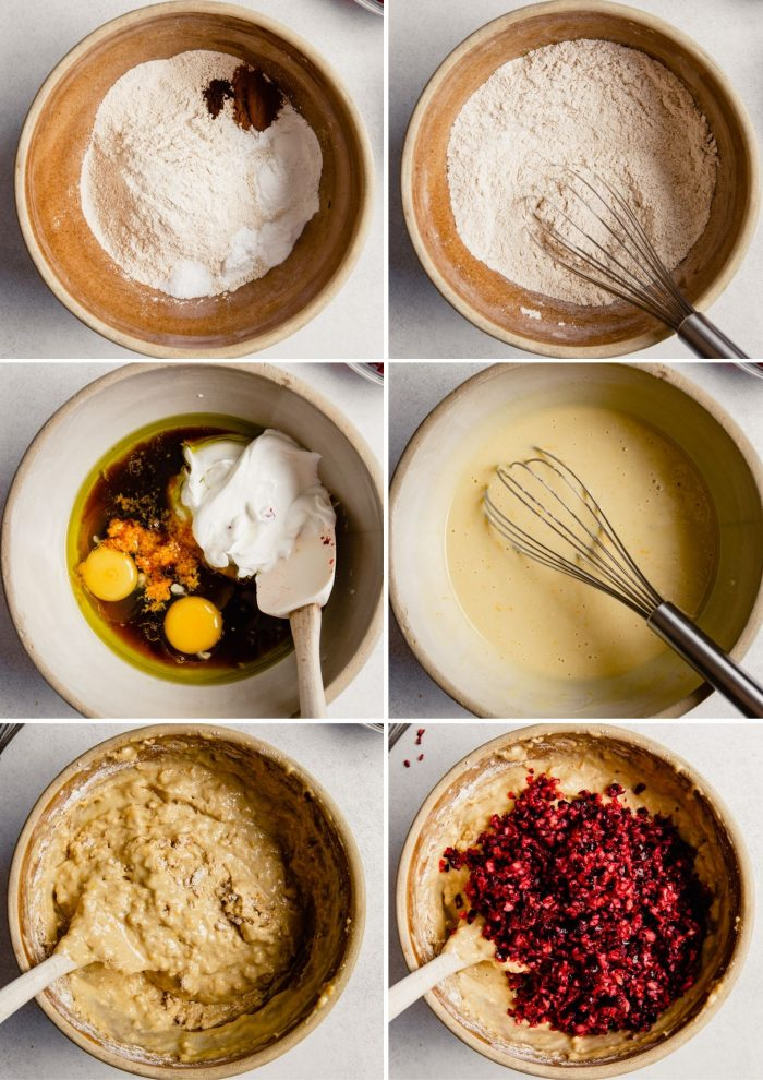 step-by-step grid of images showing how to make the batter for cranberry orange muffins