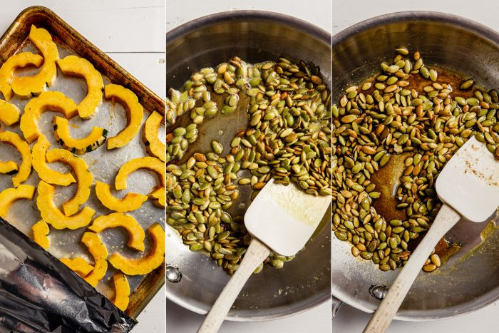 grid of step-by-step images showing how to make maple browned butter sauce with pepitas