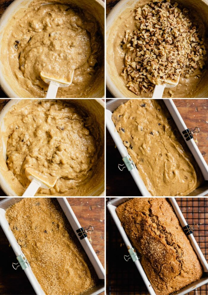 step-by-step grid of images showing how to prepare and bake date nut bread