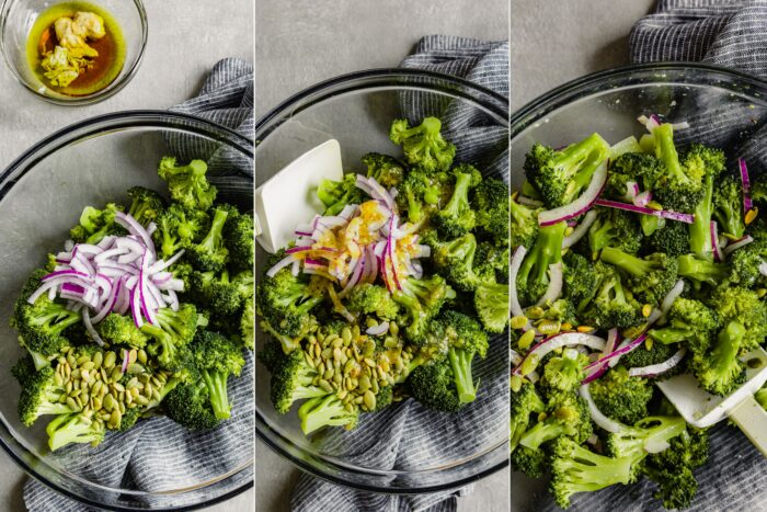 step by step images showing how to toss a broccoli salad together