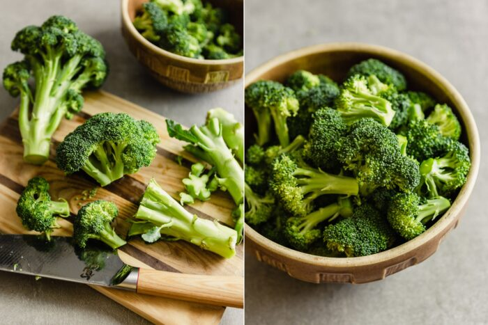 collage of two images showing how to cut broccoli into florets and broccoli florets in a brown bowl