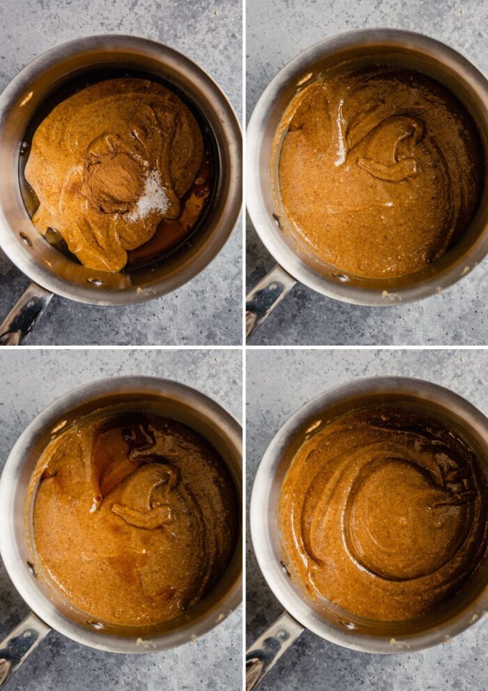 grid of four images showing how to mix almond butter, honey, cinnamon, and salt