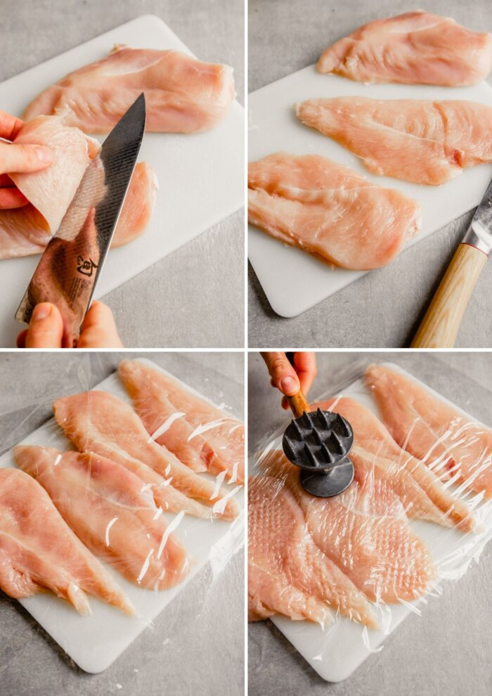 step by step process images showing how to cut chicken breasts in half and pound out