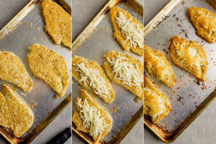step by step process shots showing how to bake chicken parmesan